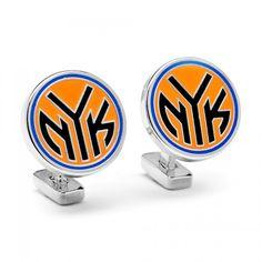 NBA Mens Palladium New York Knicks Cufflinks with Collectible Gift Box