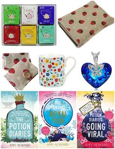 With Love for Books: English Tea Shop Tea Set, Strawberry Book Sleeve &...