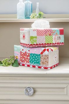 Tissue box pretty patchwork cover. This is a great project for using up leftover pre-cut strips or use one pretty quilted fabric for the whole cover. What you'll need to create this tissue box: * …