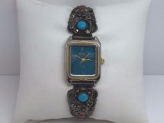 TURQUOISE QUARTZ LADIES WATCH W/RED & BLUE TURQUOISE WATCH TIPS&EXPANSION BAND