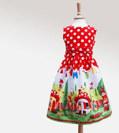 Little girls party dress gnome print