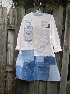 Thermal tee shirt I used to make this Funky Tunic or Dress will keep you warm in cold winter month and make you smile ! For skirt part of the dress I used raw patches of denim from recycled jeans. Size L - XL. MEASUREMENTS : bust - 22, hips ( the top of the skirt) - 23, length - 36,