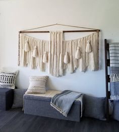 "72""x42""Extra large macramé wall hanging/macramé wall hanging/woven wall hangings/Yarn wall hanging/yarn tapestry/large wall art Large Macrame Wall Hanging, Yarn Wall Hanging, Wall Hangings, Pale White, Jute Twine, Weaving Art, All Wall, Wall Spaces, Large Wall Art"