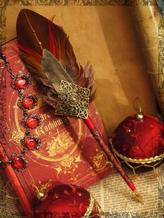 """Ink:  #Quill #Pen ~ """"The Tailor of Gloucester,"""" by LillaKattuggla, at deviantART. Feather Crafts, Feather Art, Feather Pens, Quill And Ink, Magical Jewelry, Fantasy Jewelry, Pen Sets, Book Of Shadows, Wax Seals"""
