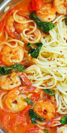Garlic Basil Tomato Shrimp Pasta.