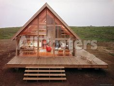 Excellent Gardening Ideas On Your Utilized Espresso Grounds Newly Constructed Prefabricated House On Block Island With Large Wrap Around Deck Photographic Print By John Zimmerman At Small Log Cabin, Log Cabin Homes, Barn Homes, Diy Cabin, Small Barn Home, Tiny Log Cabins, Small Cabin Plans, Little Cabin, Wrap Around Deck