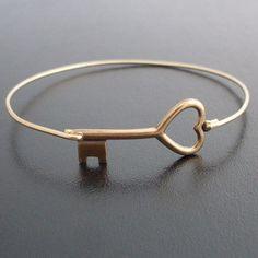 Key to My Heart Bangle Bracelet Brass Key Heart Bracelet Key