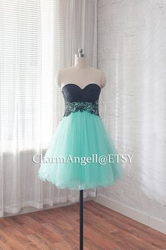 Sexy short mint green A-Line/princess Sweetheart by CharmAngell