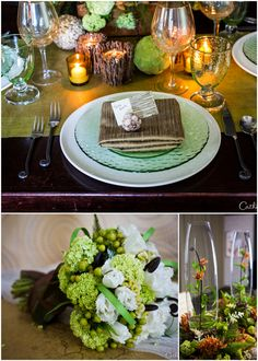 Green Woodland Inspired Wedding Tablescape | Pizzazzerie