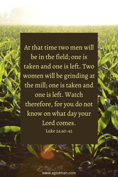 At that time two men will be in the field; one is taken and one is left. Two women will be grinding at the mill; one is taken and one is left. Watch therefore, for you do not know on what day your Lord comes. Luke 24:40-42