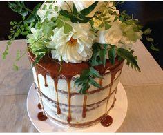 Naked Cake ~ White Chocolate Mud Cake with Salted Caramel Swiss Meringue Buttercream finished with Caramel Drizzle. Laura & Jason Wedding