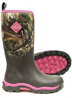 Add a splash of color to your rough and tough outdoor adventures with the Muck Boot Woody Max Pink Hunting Boots for women!