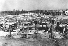 Surplus fighter aircraft awaiting the smelter at Walnut Ridge, Arkansas, after World War II