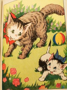 A mother cat teaches her kittens, Tuff, Buff, Fluff and Ruff, lessons on life, behavior and manners. Illustrated with black & white and color drawings of these adorable kittens at play. This book is in good condition. Cover is worn along spine, edges and corners. Spine has a short tear at the top and is beginning to loosen from book pages. Pages are free of markings and dog-ears. There is a very light gray smudge on the upper corner of the front cover page. Book measures approx. 6 3&#...