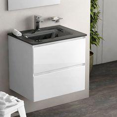 Cordoue, meuble salle de bain 61 cm blanc brillant, vasque verre 3 finitions    #salledebain #meuble  #design #style #deco #bathroom #bath #bathroomdesign #bathroomideas #blanc  #noir