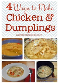 The all-time, most popular recipe on Eat at Home is for Chicken and Dumplings. It doesn& matter what time of year, people want to make this classic dish. Chicken and Dumplings is a little like ch. Slow Cooker Recipes, Crockpot Recipes, Soup Recipes, Chicken Recipes, Cooking Recipes, Cooking Ideas, Yummy Recipes, Recipies, Homemade Chicken And Dumplings