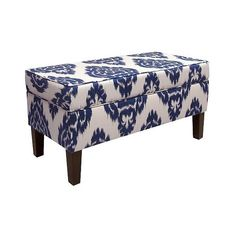 Skyline Custom Upholstered Contemporary Bench, Diamond Blue (920 PLN) ❤ liked on Polyvore featuring home, furniture, benches, diamond blue, contemporary storage bench, contemporary furniture, upholstered storage bench, blue furniture and tufted storage bench