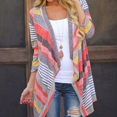 Color-Block Open-Front Cardigan                                                                                                                                                                                 More