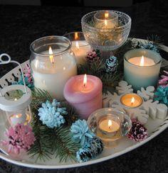 Candle Arrangement aqua white and pink.