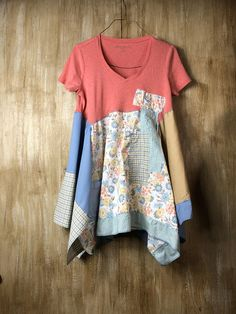 Womens up cycled T SHIRT, TUNIC, recycled, repurposed, comfortable, fun and funky, lagenlook, soft wearable art, spring style, romantic