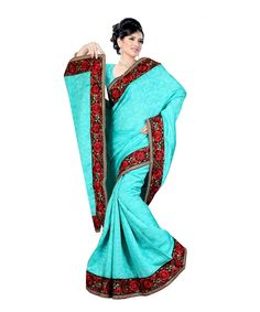 Aqua Bhagalpuri Saree With Blouse 60055