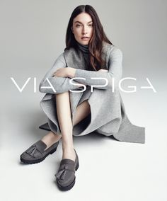 Jacquelyn Jablonski is front and center in Via Spiga's Giada suede loafers for the brand's fall-winter 2016 campaign