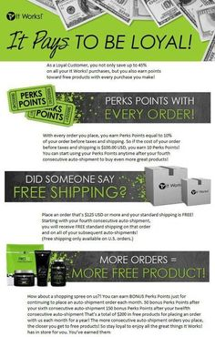More info on It Works Global's amazing Loyal Customer Program. Body wraps at wholesale pricing? Yes, please!  Get your sexy back with It Works body wraps: www.incredibleshrinkingwraps.com