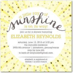 A Little Sunshine - Baby Shower Invitations in Sunflower | Sarah Hawkins Designs