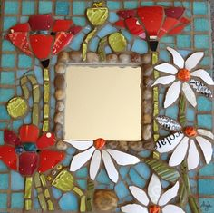 Floral Explosion Mirror  by Anja Hertle  Maplestone Gallery  Contemporary Mosaic Art