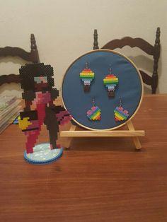Garnet e brincos de balão e arco perler beads
