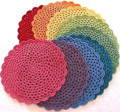 crochetingclub: granny mandala. flat circle. pot holders