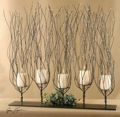 Tree Branch Candle Holder Twisted Wire Twig Brown Metal Fireplace Candleholder | eBay
