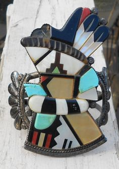 Zuni Cuff Silver Bracelet Andrew Dewa Kachina Marked A. DEWA ZUNI AZ7BB on Etsy, $600.00