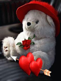 Imagenes con movimiento de osos con corazones flechados