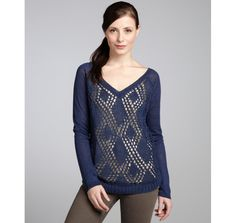 Hayden deep navy linen knit raglan sweater