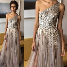 One Shoulder Shinning Side Split Elegant Long Prom Dresses, WG1039 The long prom dress is fully lined, 4 bones in the bodice, chest pad in the bust, lace up bac