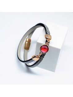 Βραχιόλι Snake /Rose Gold/Swarovski Light Siam V1643 Snake, Swarovski, Rose Gold, Bracelets, Leather, Jewelry, Jewlery, Jewerly, Schmuck