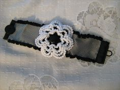 Black & White Striped Crocheted Rose Cuff Bracelet Oo La La French Lolita Steampunk Goth. $24.99, via Etsy.