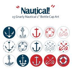 I LOVE Nautical designs! Can't you tell? Simple Gnarly Nautical Anchors 1 Inch Circle by LittleCraftDesign, $2.00