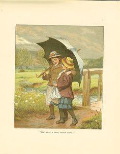 Antique 1889 Victorian Robert Barnes Children's Print Two Girls Walking In The Rain Under Umbrella.