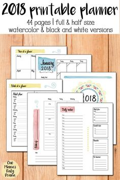 The 2018 Printable Planner from One Mama's Daily Drama // Available in 3 variations: full page color, full page black and white, half page color