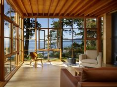 Open concept room with an awesome ocean view, totally want this to be my  living room.