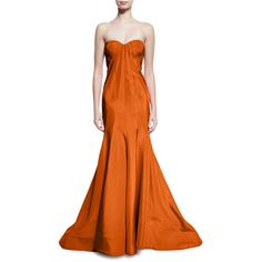 Zac Posen Strapless Faille Mermaid Gown ($4,990) ❤ liked on Polyvore featuring dresses, gowns, tangerine and zac posen