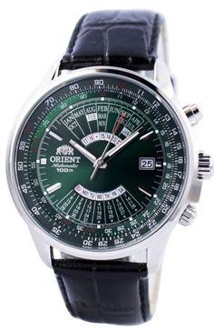 Orient Multi-Year Perpetual Calendar FEU0700CFH Green Dial Black Leather Band Men's Watch