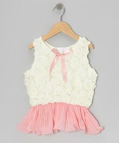 Take a look at this Coral & Ivory Rosette Pleated Tank - Toddler by Just Fab Girls on #zulily today!