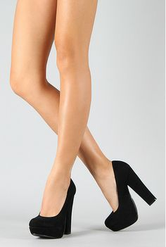 Round Thick High Heels Classics Evening Platform Pumps Faux Suede VAS *perfect classic black high heels*