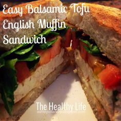 The Healthy Life: Easy Balsamic Tofu English Muffin Sandwich! #tofu #protein #healthy #recipe #recipes #vegetarian #balsamic #food #easy #lunch #sandwich #thehealthylife #meatlessmonday #fast #mediterranean #tomato #protein #spinach