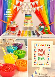 Jelly Beans Birthday Party Printables Supplies & Decorations Jelly Bean Party Desserts table Or gummi bears Rainbow Party Decorations, Rainbow Parties, Rainbow Birthday Party, Rainbow Theme, Art Birthday, Birthday Party Decorations, Rainbow Jelly, Circus Birthday, Art Party Decorations