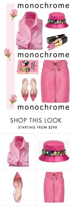 """""""Color Me Pretty: Head-to-Toe Pink"""" by vinograd24 ❤ liked on Polyvore featuring Miu Miu, Chanel, Kate Spade, Moschino, Olympia Le-Tan, monochrome and monochromepink"""