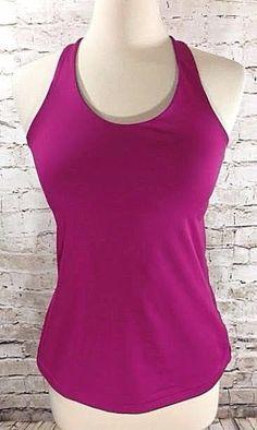 Nike Dri-Fit Womens Sz L Purple Tank Top T-Back Slim Fit Shelf Bra Athletic  EUC